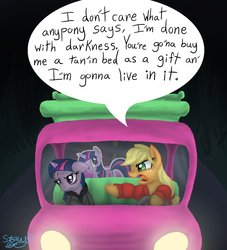 Size: 1768x1948 | Tagged: alan wake, angry, applejack, applejack truck, artist:another-story-2tell, bandage, blood, cardboard cutout, cardboard twilight, driving, duo, earth pony, female, floppy ears, frown, glare, injured, mare, open mouth, pointing, pony, safe, twilight sparkle, unicorn, yelling