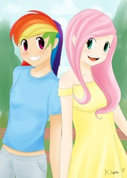 Size: 825x1155 | Tagged: safe, artist:kprovido, fluttershy, rainbow dash, human, clothes, dress, duo, female, flattershy, humanized, midriff, palindrome get, short shirt, small breasts