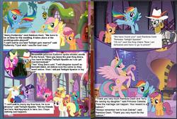 Size: 1330x897 | Tagged: safe, applejack, dewdrop dazzle, fluttershy, pinkie pie, prince blueblood, princess cadance, princess celestia, princess luna, rainbow dash, scootaloo, spike, twilight sparkle, zecora, oc, oc:yellowstar, alicorn, dragon, earth pony, pegasus, pony, unicorn, zebra, and applejack is here too, comic, fake, female, german comic, german spike, headless, king zebra, male, mare, my friends and zoidberg, palette swap, parody, pink luna, pinklestia, seems legit, shipping, stallion, straight, terry, translation, twiblood, wat