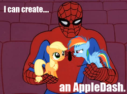 Size: 544x400 | Tagged: safe, applejack, rainbow dash, earth pony, pegasus, pony, 60s spider-man, appledash, crossover, female, filly, lesbian, male, meme, shipping, spider-man, with great power comes great shipping