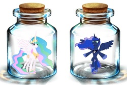 Size: 1200x800 | Tagged: artist needed, safe, princess celestia, princess luna, alicorn, pony, bottle, female, mare, pony in a bottle