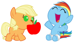 Size: 4320x2520 | Tagged: apple, applejack, artist:beavernator, baby, baby dash, babyjack, baby pony, diaper, earth pony, female, filly, foal, mouth hold, pegasus, pony, rainbow dash, safe, simple background, white background