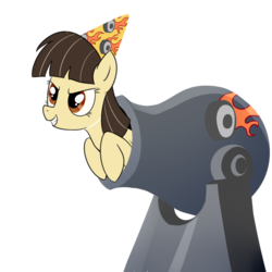 Size: 1000x1000   Tagged: safe, artist:madmax, wild fire, pegasus, pony, cannon, female, hat, mare, party hat, sibsy, simple background, solo, transparent background
