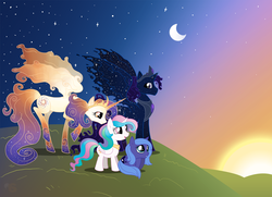 Size: 1379x1000 | Tagged: safe, artist:spyrothefox, princess celestia, princess luna, oc, oc:king cosmos, oc:queen galaxia, alicorn, 's parents, alicorn oc, celestia and luna's father, celestia and luna's mother, cute, father and daughter, female, filly, galamos, like father like daughter, like mother like daughter, like parent like child, male, mare, mother and daughter, parent, royal family, royal sisters, sisters, stallion, sunset, woona, young, younger