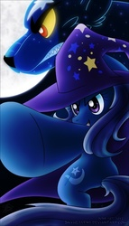 Size: 400x700 | Tagged: artist:skyheavens, bipedal, duo, female, mare, moon, pointing, pony, safe, trixie, unicorn, ursa minor