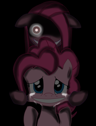 Size: 900x1172 | Tagged: safe, artist:usagifriday, pinkie pie, earth pony, pony, black background, creepy, crying, duality, female, grin, mare, pinkamena diane pie, simple background, smiling, solo