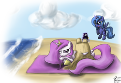 Size: 2400x1650 | Tagged: safe, artist:leadhooves, princess celestia, princess luna, alicorn, pony, beach, cute, female, filly, flying, pink-mane celestia, prone, s1 luna, sandcastle, tongue out, water, woona, young, young celestia, young luna, younger