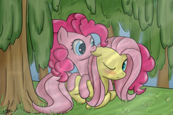 Size: 1200x800 | Tagged: safe, artist:speccysy, fluttershy, pinkie pie, earth pony, pegasus, pony, blushing, ear bite, female, flutterpie, forest, lesbian, mare, one eye closed, prone, shipping