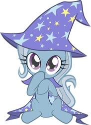 Size: 3586x4897 | Tagged: safe, artist:littlelunithe, trixie, pony, unicorn, clothes, cute, diatrixes, female, filly, foal, hat, robe, simple background, sitting, trixie's cape, trixie's hat, white background