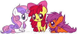 Size: 1606x718 | Tagged: apple bloom, artist:ponymonster, cutie mark crusaders, earth pony, female, filly, messy mane, pegasus, pony, safe, scootaloo, simple background, sweetie belle, unicorn
