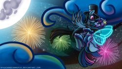 Size: 1920x1080 | Tagged: safe, artist:nyuuchandiannepie, rainbow dash, twilight sparkle, pegasus, pony, unicorn, abstract background, artificial wings, augmented, clothes, cloud, cute, dancing, disguise, dress, duo, dyed mane, dyed tail, eye contact, fanfic, fanfic art, fanfic cover, female, fireworks, flying, full moon, hat, lesbian, looking at each other, magic, magic wings, mare, mask, moon, night, night sky, shipping, sky, spread wings, starry night, top hat, tuxedo, twidash, wallpaper, wings