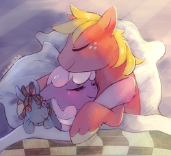 Size: 681x620 | Tagged: artist:suikuzu, bed, big macintosh, blushing, cheerilee, cheerimac, crepuscular rays, cuddling, earth pony, eyes closed, female, male, mare, pillow, pony, safe, shipping, sleeping, smarty pants, snuggling, stallion, straight