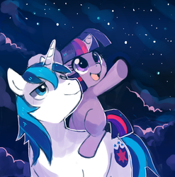 Size: 910x921   Tagged: safe, artist:suikuzu, shining armor, twilight sparkle, pony, unicorn, brother and sister, cloud, duo, filly, foal, lidded eyes, looking at something, male, night, night sky, open mouth, pointing, ponies riding ponies, raised hoof, riding, smiling, stallion, stars, twilight riding shining armor, underhoof, unicorn twilight