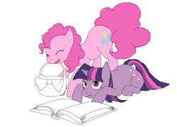 Size: 700x500 | Tagged: artist:cabyowl, basket, book, earth pony, female, mare, mouth hold, pinkie pie, pony, prone, safe, simple background, twilight sparkle, unicorn, white background