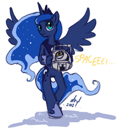 Size: 470x500 | Tagged: anthro, artist:atryl, crossover, female, personality core, portal 2, portal (valve), princess luna, safe, space core, unguligrade anthro