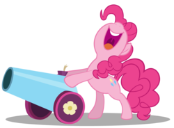 Size: 10000x7353 | Tagged: absurd res, artist:gratlofatic, bipedal, bipedal leaning, earth pony, female, leaning, mare, open mouth, party cannon, pinkie pie, pony, safe, simple background, smiling, solo, transparent background, vector