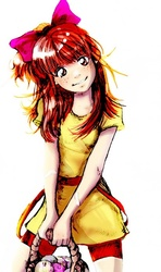 Size: 414x700 | Tagged: safe, artist:yanabau, apple bloom, human, 2010s, 2012, apple, basket, beautiful, bow, clothes, compression shorts, dress, female, food, freckles, head tilt, humanized, plaster, red hair, shorts, simple background, smiling, solo, tomboy, white background
