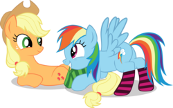 Size: 5000x3117 | Tagged: safe, artist:aweranger, applejack, rainbow dash, earth pony, pegasus, pony, appledash, clothes, eye contact, female, lesbian, looking at each other, mare, mouth hold, on back, plot, shipping, simple background, socks, striped socks, transparent background, vector