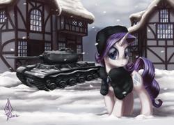 Size: 2400x1720 | Tagged: safe, artist:whitediamonds, rarity, pony, unicorn, building, clothes, commission, female, hat, kv-85, mare, russian rarity, shawl, snow, snowfall, solo, tank (vehicle), ushanka, winter