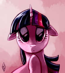 Size: 620x700   Tagged: safe, artist:whitediamonds, twilight sparkle, pony, unicorn, abstract background, bust, confused, female, floppy ears, looking at you, mare, solo