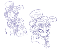 Size: 1164x975 | Tagged: alternate hairstyle, artist:whitediamonds, clothes, dress, female, hat, mare, monochrome, pony, rarity, safe, sketch, solo, steampunk, top hat, unicorn