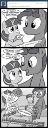 Size: 600x1600 | Tagged: safe, artist:madmax, night light, shining armor, twilight sparkle, pony, unicorn, madmax silly comic shop, bad parenting, colt, comic, couch, filly, filly twilight sparkle, gallows humor, gasoline, grayscale, imminent grimdark, imminent suicide, male, monochrome, scared, sex education, stallion, younger