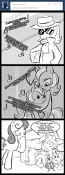 Size: 600x1600 | Tagged: safe, artist:madmax, bon bon, lyra heartstrings, sweetie drops, earth pony, pony, unicorn, madmax silly comic shop, action figure, background pony, bed, bipedal, boulevard of broken dreams, caught, clothes, comic, crying, fedora, female, green day, hat, incognito, lyra plushie, mare, pillow, plothole plush lyra, scarf, self plushidox, song reference, sunglasses, superman, top hat, trenchcoat, wat