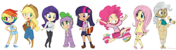 Size: 3318x956 | Tagged: safe, artist:girgrunny, applejack, fluttershy, mayor mare, pinkie pie, rainbow dash, rarity, spike, twilight sparkle, human, 2010s, 2012, apple, arms in the air, blonde hair, blue eyes, blushing, book, boots, bucket, clothes, confident, converse, cowboy boots, cowboy hat, cowgirl, ear piercing, earring, excited, female, food, freckles, green eyes, grey hair, gym shorts, hands on hip, hat, humanized, in love, jewelry, line-up, male, mane seven, mane six, multicolored hair, necktie, overalls, pantyhose, piercing, pink eyes, pink hair, pleated skirt, ponytail, purple eyes, purple hair, rainbow hair, scroll, shoes, shorts, simple background, skirt, smiling, sneakers, socks, suspenders, sweater vest, tanktop, tube skirt, white background