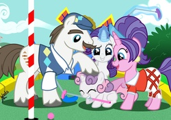 Size: 1054x737 | Tagged: safe, artist:scruffytoto, cookie crumbles, hondo flanks, rarity, sweetie belle, pony, unicorn, cookieflanks, family, female, filly, golf, male, mare, minigolf, mouth hold, noogie, sore loser, stallion