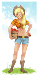 Size: 472x942 | Tagged: safe, artist:meago, applejack, human, 2010s, 2011, apple, applejack's hat, belly button, belt, blonde hair, boots, breasts, bucket, busty applejack, clothes, cowboy boots, cowboy hat, cowgirl, daisy dukes, denim shorts, female, food, front knot midriff, grass, happy, hat, humanized, legs, looking at you, midriff, ponytail, shirt, shorts, sky, smiling, solo, tied shirt