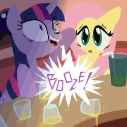 Size: 600x600 | Tagged: alcohol, artist:frostedwarlock, drunk, female, fluttershy, glass, mare, night, pegasus, pony, safe, twilight sparkle, unicorn