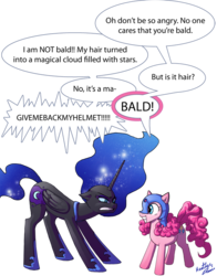 Size: 640x815 | Tagged: accessory theft, alicorn, angry, artist:tavisharts, bald, cute, dialogue, diapinkes, duo, earth pony, eye contact, female, floppy ears, frown, glare, grin, gritted teeth, happy, helmet, looking at each other, mare, missing accessory, moonabetes, nightmare moon, pinkie being pinkie, pinkie pie, pony, princess luna, safe, simple background, smiling, squee, teasing, transparent background