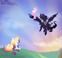Size: 1500x1411 | Tagged: safe, artist:egophiliac, princess celestia, princess luna, oc, oc:king cosmos, oc:queen galaxia, alicorn, 's parents, alicorn oc, baby pony, blank flank, celestia and luna's father, celestia and luna's mother, cewestia, cute, cutelestia, ethereal mane, ethereal wings, father and daughter, female, filly, flying, flying lesson, foal, galamos, hoof shoes, lunabetes, male, mare, mother and daughter, parent, pink-mane celestia, royal family, royal sisters, spread wings, stallion, starry mane, starry wings, woona, young, younger