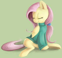 Size: 874x819   Tagged: safe, artist:php27, fluttershy, pegasus, pony, bottomless, clothes, eyes closed, female, mare, partial nudity, ponytail, sitting, solo, sweater, sweatershy
