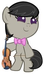 Size: 1080x1800 | Tagged: artist:beavernator, baby, baby pony, bipedal, earth pony, female, filly, foal, octavia melody, pony, safe, simple background, solo, violin, white background