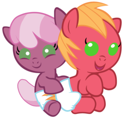 Size: 2520x2400   Tagged: safe, artist:beavernator, big macintosh, cheerilee, earth pony, pony, baby, baby macintosh, baby pony, colt, diaper, duo, female, filly, foal, high res, male, simple background, sitting, white background