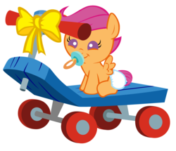Size: 3352x2880   Tagged: safe, artist:beavernator, scootaloo, pegasus, pony, baby, baby pony, baby scootaloo, bow, cute, cutealoo, daaaaaaaaaaaw, diaper, female, foal, happy birthday, high res, pacifier, scootalove, scooter, simple background, sitting, solo, white background