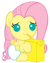 Size: 2000x2520   Tagged: safe, artist:beavernator, fluttershy, pegasus, pony, baby, baby pony, diaper, female, filly, foal, high res, juice box, simple background, sitting, white background