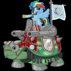Size: 5000x5000 | Tagged: safe, artist:sh2otingstar, princess celestia, princess luna, rainbow dash, tank, pegasus, pony, absurd resolution, armor, cannon, crossover, da red wunz go fasta, equestrian flag, female, flag, giant tortoise, helmet, mare, moon, pet, ponies riding turtles, pun, reins, riding, shield, simple background, sun, tank (vehicle), transparent background, vector, warhammer (game), warhammer 40k, weapon