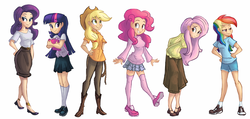 Size: 2222x1058   Tagged: safe, artist:ric-m, applejack, fluttershy, pinkie pie, rainbow dash, rarity, twilight sparkle, human, applejack's hat, boots, clothes, cowboy boots, cowboy hat, female, hat, human coloration, humanized, light skin, long skirt, mane six, mary janes, pointed breasts, simple background, skinny, skirt, socks, sweater, sweatershy, thigh highs, white background