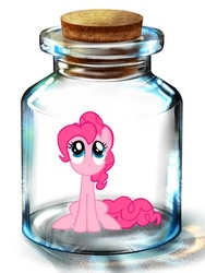 Size: 600x800   Tagged: artist needed, safe, pinkie pie, earth pony, pony, bottle, female, looking up, mare, pony in a bottle, sitting, solo
