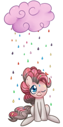 Size: 473x956   Tagged: safe, artist:solar-slash, pinkie pie, earth pony, pony, cloud, female, mare, one eye closed, rain, simple background, sitting, smiling, solo, transparent background