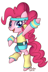 Size: 818x1226 | Tagged: 80s, aerobics, artist:solar-slash, bipedal, earth pony, female, headband, leg warmers, mare, pinkie pie, pony, safe, simple background, solo, transparent background, wristband