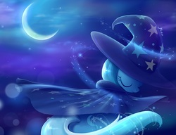 Size: 973x749 | Tagged: dead source, safe, artist:misteelala, trixie, pony, unicorn, clothes, crescent moon, eyes closed, female, hat, magic, mare, moon, rear view, robe, smiling, solo, transparent moon, trixie's cape, trixie's hat