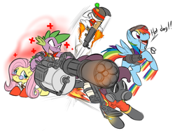 Size: 1352x1012   Tagged: safe, artist:0r0ch1, angel bunny, fluttershy, pinkie pie, rainbow dash, spike, dragon, pegasus, pony, costume, female, fluttermedic, gun, heavy weapons guy, male, mare, medic, pinkie pyro, pyro, rainbow scout, rocket jump, scout, simple background, soldier, team fortress 2, weapon, white background