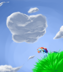 Size: 1152x1314   Tagged: safe, artist:0r0ch1, rainbow dash, pegasus, pony, apple, cloud, crying, eyes closed, female, implied appledash, mare, sad, sitting, solo