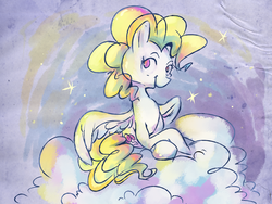 Size: 1600x1200   Tagged: safe, artist:pashapup, surprise, pegasus, pony, cloud, cutie mark, female, g1, g1 to g4, generation leap, hooves, lying on a cloud, mare, on a cloud, sitting, solo, wings