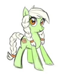 Size: 449x559 | Tagged: artist needed, safe, granny smith, earth pony, pony, female, filly, simple background, solo, white background, young, young granny smith, younger