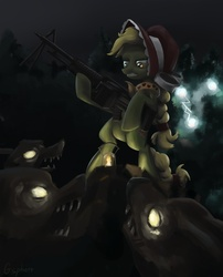 Size: 727x900 | Tagged: artist:gsphere, badass, bipedal, doom, earth pony, female, glare, granny smith, gritted teeth, gun, hoof hold, m60, machine gun, mare, night, pony, rifle, safe, timber wolf, weapon, young, younger, young granny smith, zap apple