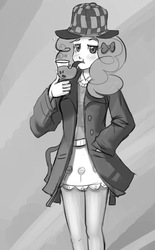 Size: 620x1000 | Tagged: safe, artist:mew, pinkie pie, human, mmmystery on the friendship express, abstract background, bubble pipe, clothes, deerstalker, detective, female, hat, humanized, monochrome, pipe, sherlock holmes, sherlock pie, solo